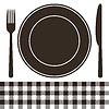 Besteck, Teller und Tischdecke Muster in schwarz-