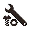 Schlüssel, Mutter und Schraube Symbol | Stock Photo