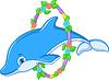 Emblem mit Delphin | Stock Vektrografik
