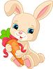 Kaninchen hält Karotte