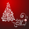 weißer Spitze Weihnachtsbaum auf rotem Hintergrund