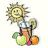 Glas Fruchtsaft und Sonne