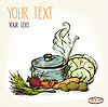 Olla estilizada de sopa y verduras caliente, ingredientes | Ilustración vectorial