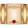 Векторный клипарт: Горизонтальная королевский золотой сертификат с кружевом богато