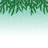 Jodła gałęzi drzewa i płatki śniegu na kolorowe | Stock Vector Graphics