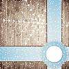 Blaue Bänder und Schneeflocken auf Holzbrett Hintergrund