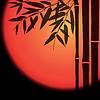 Bambusstämme und Blätter mit roter Sonne