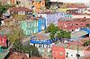 Widok z lotu ptaka ulicach Valparaiso | Stock Foto