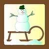 Snowman auf einem Schlitten