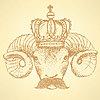 Skizze RAM in der Krone mit Schnurrbart