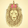 Skizze niedlichen Löwen mit Krone im Vintage-Stil
