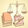 Векторный клипарт: Эскиз Waage с книгами и прокрутки диплома
