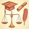 Векторный клипарт: Эскиз справедливость и набор образование