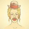 Векторный клипарт: Эскиз симпатичная женщина в шляпе и усами