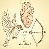 Векторный клипарт: Симпатичные набор с птицей, луком и сердце