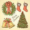 Sketch Weihnachten im Vintage-Stil Set