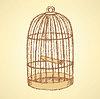 Skizze Vogelkäfig im Vintage-Stil