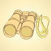 Векторный клипарт: Эскиз милый бинокль в винтажном стиле