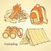 Векторный клипарт: Эскиз набор кемпинг в винтажном стиле