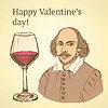 Sketch Valentinstag im Vintage-Stil eingerichtet
