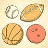 Эскиз шар для боулинга в винтажном стиле | Векторный клипарт