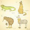 Sketch Phantasie Tiere im Vintage-Stil Alphabet