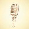 Эскиз старый микрофон в винтажном стиле | Векторный клипарт