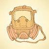 Sketch Atemmaske im Vintage-Stil