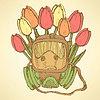 Sketch Atemmaske mit Tulpen