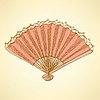 Векторный клипарт: Эскиз Испанский вентилятор в винтажном стиле