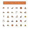 Farbige Baulinie Icons