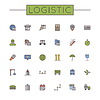 컬러 물류 라인 아이콘 | Stock Vector Graphics