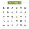 Farbige Logistic Linie Icons | Stock Vektrografik