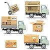 Векторный клипарт: Доставка Ретро легких грузовиков
