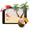 Векторный клипарт: Планшетный ПК с тропический курорт