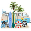 Koncepcja surfing weekend | Stock Vector Graphics