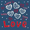 Postkarte mit roten und weißen Herzen und Wort Liebe