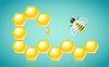Waben Honig-Tropfen-und Bienen-