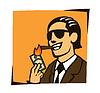 Businessman lights a cigar with dollar | Stock Vector Graphics