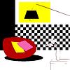 rot geschwollene Stühlen und karierten Innenwand