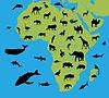 Tiere auf der Karte von Afrika