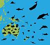 Tiere auf der Karte von Australien und Ozeanien