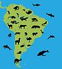 Tiere auf der Karte von Südamerika