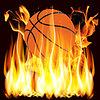 Векторный клипарт: Пламя и баскетбол