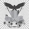 Hintergrund Adler auf Schild mit Schwertern und Blumen