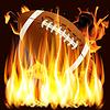 Ball für American Football im Feuer