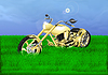 gold chopper on green meadow
