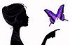 schönes Mädchen Silhouette mit Schmetterling