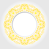Abstrakte weiße, runde Rahmen mit Gelb Digitale