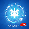 Winter Sale Banner with Snowflake on Blue | Stock Vector Graphics
